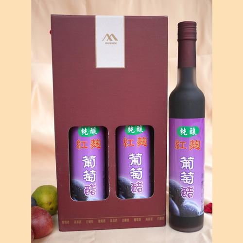 葡萄醋禮盒推薦-純釀紅麴葡萄醋禮盒組 (400ml/2瓶入 ...
